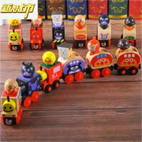 【六一儿童节特惠】 木制儿童面包超人磁性托马斯小车磁力滑行小火车组合趣味木偶玩具 图片色