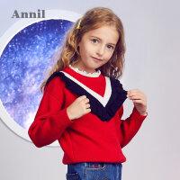 【3件3折折后价:89.7】安奈儿童装女童毛衣冬季新款女宝儿童荷叶边撞色圆领针织毛衣