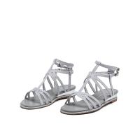 迪芙斯新商场同款闪光布镂空搭扣低跟舒适女凉鞋DF72115316