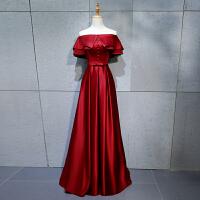 一字肩晚礼服女2018新款红色长款新娘结婚敬酒服名媛聚会礼服夏季 图片色