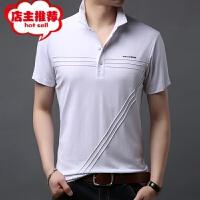 中年爸爸夏装宽松男士短袖t恤有带领纯棉潮流体��冰丝光棉百搭�B