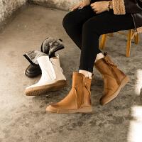 ��菲���D2020秋冬新款雪地棉靴皮毛一�w�|北厚棉鞋加�q女鞋短靴子保暖雪地靴8021-13YML