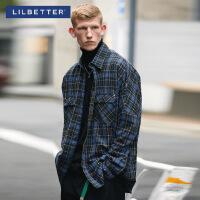 2.5折价:94;Lilbetter格子衬衫男潮牌衬衣韩版复古开衫宽松潮流男士长袖外套