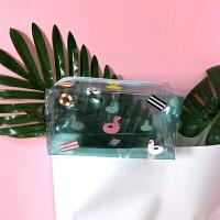 日系可爱卡通化妆包收纳包小清新便携收纳洗漱包 化妆包 绿色鸭子