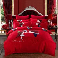 婚庆大红色棉床单四件套结婚用新婚被子喜被棉床上用品六件套