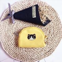 韩国卡通可爱帆布零钱包女迷你硬币包布艺零钱袋学生钥匙包小钱袋 黄色黑猫{带钥匙圈}