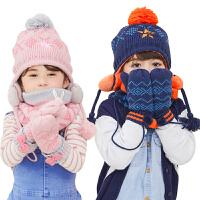 宝宝帽子围脖两件套秋冬季男童女孩护耳保暖儿童帽子
