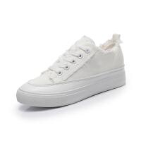 春季新款帆布鞋女厚底布鞋内增高小白鞋女韩版百搭休闲学生运动鞋