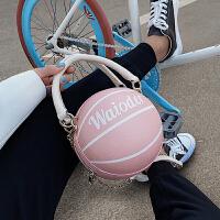 粉色篮球包包女创意迷你单肩斜挎链条球包