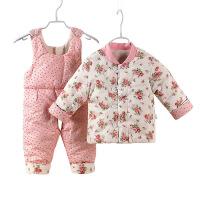 冬季新款新生儿加厚手工棉花棉衣对襟宝宝棉袄棉裤套装婴幼儿冬装 均码(适合6-12个月)