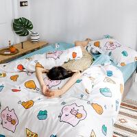 自然醒商场同款小清新卡通全棉四件套棉床单被套学生宿舍单人三件套床上用品夏