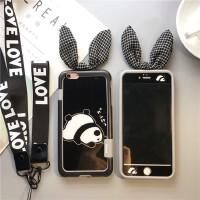 日�n熊��O果8可�垆�化膜iPhone6s全屏8plus卡通7前后彩膜7Plus女 7Plus/8Plus5.5寸熊�黑色