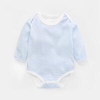 婴儿连体衣服长袖三角哈衣春秋装3个月女宝宝包屁衣爬爬衣新生儿