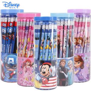 迪士尼儿童HB铅笔小学生橡皮头铅笔桶装50支装桶装带皮头铅笔