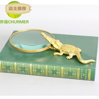 鳄鱼放大镜桌面摆件镇宅创意软装饰样板房现代中式金属铜别墅客厅SN0756 WJ-149 L280*W180*H50
