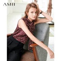 【预估价94元】Amii极简法式气质印花雪纺衫女2019夏季新款飘带拼接仙女无袖衬衫