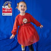 迷你巴拉巴拉儿童连衣裙女童裙子2019冬新款齐天大圣印花网纱长裙