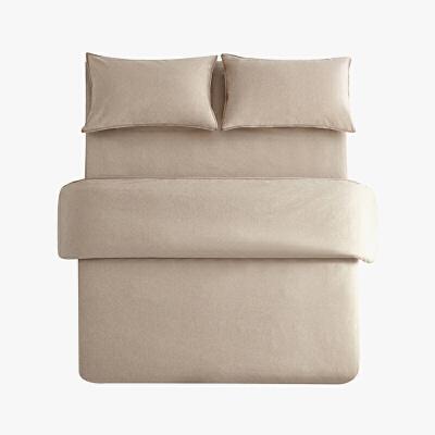 当当优品色织四件套 纯棉日式水洗磨毛床品 双人加大1.8米床 卡其当当自营 MUJI制造商代工