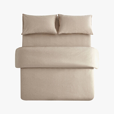 当当优品色织四件套 纯棉日式水洗磨毛床品 双人加大1.8米床 卡其 当当自营 MUJI制造商代工