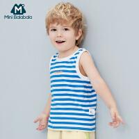 迷你巴拉巴拉男童背心2020夏季新款童装上衣条纹清爽夏季短袖背心