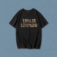 欧美女装字母短袖t恤女韩版宽松豹纹字母短袖白T恤女夏季棉圆领学生bf风半截袖潮