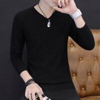 男士V领毛衣春秋季2018新款男生韩版潮流薄款线衣白色打底针织衫