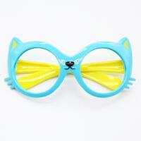 男女儿童眼镜框可爱宝宝无镜片太阳眼镜小孩圆形卡通框架婴儿配饰 猫咪款蓝色