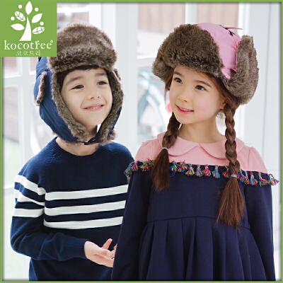 【3件85折:37.4】韩国KK树儿童帽子秋冬款男童女童帽子冬天儿童雷锋帽加绒护耳保暖
