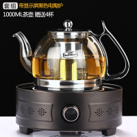 玻润玻璃煮茶壶烧水壶电陶炉煮水茶炉过滤煮茶器功夫茶壶黑茶套装 02款1000ML+黑色旋钮电陶炉