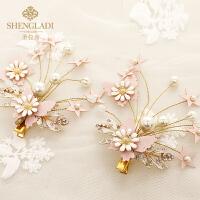 儿童头饰粉色发夹女孩发饰韩式公主花朵蕾丝发卡蝴蝶水晶夹