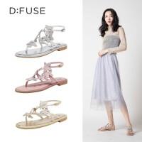 迪芙斯(D:FUSE)2019夏专柜同款羊皮革夹趾蝴蝶甜美仙女平底舒适女凉鞋DF92115170