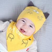 婴儿帽子0-3-6-12个月秋冬男童保暖胎帽女宝宝套头帽