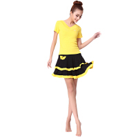 广场舞服装裙子拉丁舞裙装舞蹈演出服短袖双层裙女夏莫代尔