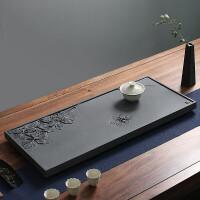 整块天然乌金石茶盘手工立体雕刻茶海家用创意茶盘石头茶盘茶托茶具套装长方形排水茶托盘