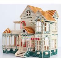 大型木头立体拼图木质模型儿童3d积木玩具益智力成人木板拼装房子