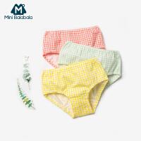 【2件4折】迷你巴拉巴拉儿童三角裤2020春装女宝宝格子印花可爱三角内裤