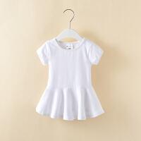 童装女童连衣裙夏装短袖2018新款韩版儿童公主裙棉女孩裙子夏季 白色短袖连衣裙 80cm