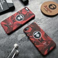 苹果6手机壳AAPE迷彩夜光iphone7plus个性创意情侣磨砂半包硬 iphone7 红色 4.7寸半包