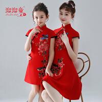 母女走秀连衣裙子儿童旗袍夏季短袖女童红色绣花唐装亲子装