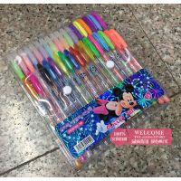 包邮 迪士尼米奇 公主 闪光笔 水粉笔 荧光笔 36色彩色笔套装 彩色水粉笔 36色
