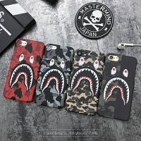 鲨鱼手机壳7潮牌bape苹果6plus个性创意潮男iphone6s磨砂半包硬壳 iphone X 双面鲨