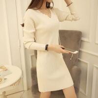 秋冬季装女士黑白色V领针织裙中长款打底衫毛衣女修身连衣裙 白色 款号:8265 S 70-95斤