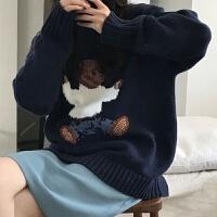 学院风秋冬小熊毛衣女学生韩版宽松圆领百搭长袖针织衫外套潮 蓝色