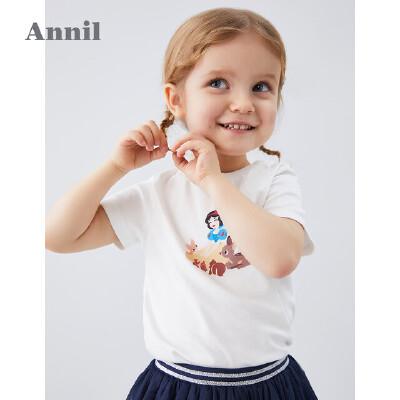 【活动价:76.05】安奈儿童装女童T恤2020夏季新款白雪公主印花宝宝纯棉上衣短袖薄