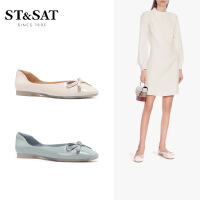 St&Sat/星期六2020春季甜美蝴蝶结女鞋方头低跟单鞋SS01111071