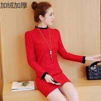 蕾丝打底衫女长袖秋冬季韩版中长款加绒加厚保暖上衣百搭外穿秋衣 红色(冬装 加绒加厚) X
