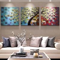 客厅沙发背景墙装饰画三联无框画现代简约立体浮雕装饰画挂画壁画 一鹿发财