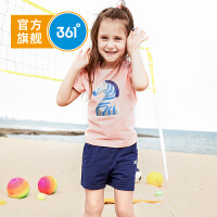 【开学季到手价:62.7】361度童装 女童套装运动服2019年夏季新品儿童运动套装休闲套装N61924471