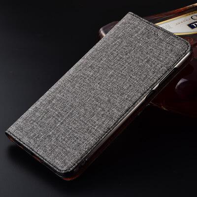 摩托罗拉XT1662手机套Moto m保护套XT1650全包套Z Play手机壳棉麻 MOTO Z play 棉麻碳灰【翻盖】