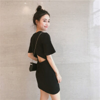 沙滩裙女夏泰国海边旅游度假赫本小黑裙性感露背矮个子超仙连衣裙 黑色